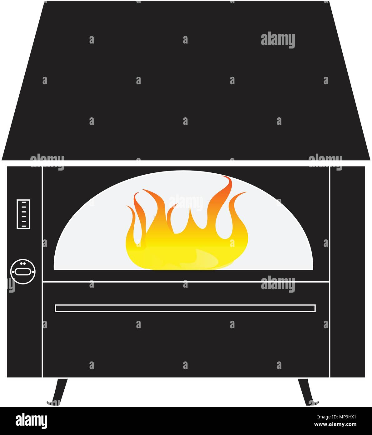 Black rustic fireplace with fire isolated on a white background vector illustration - Stock Vector