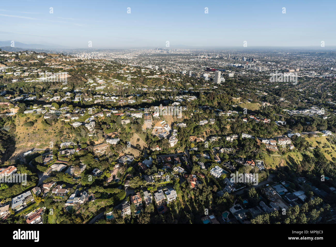 Aerial view of hillside and canyon homes above Beverly Hills