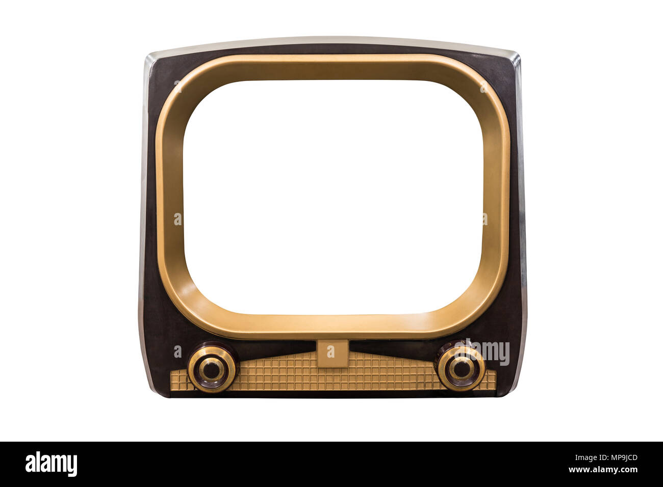 Retro 1950s television isolated on white with cut out screen. - Stock Image