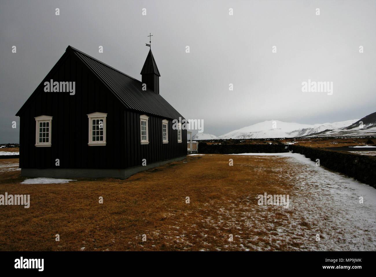 Church in Budir. Arnarstapi, Snaefellsnes peninsula, Iceland - Stock Image