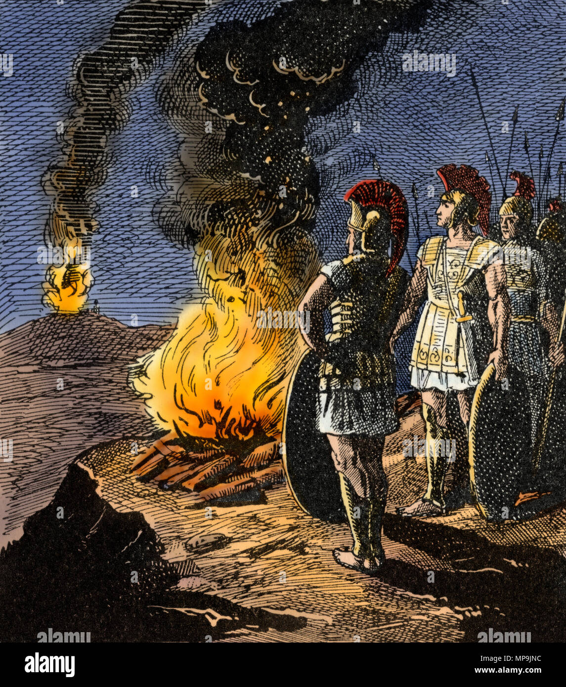 Ancient Greek military communicating via beacon fires. Digitally colored woodcut - Stock Image