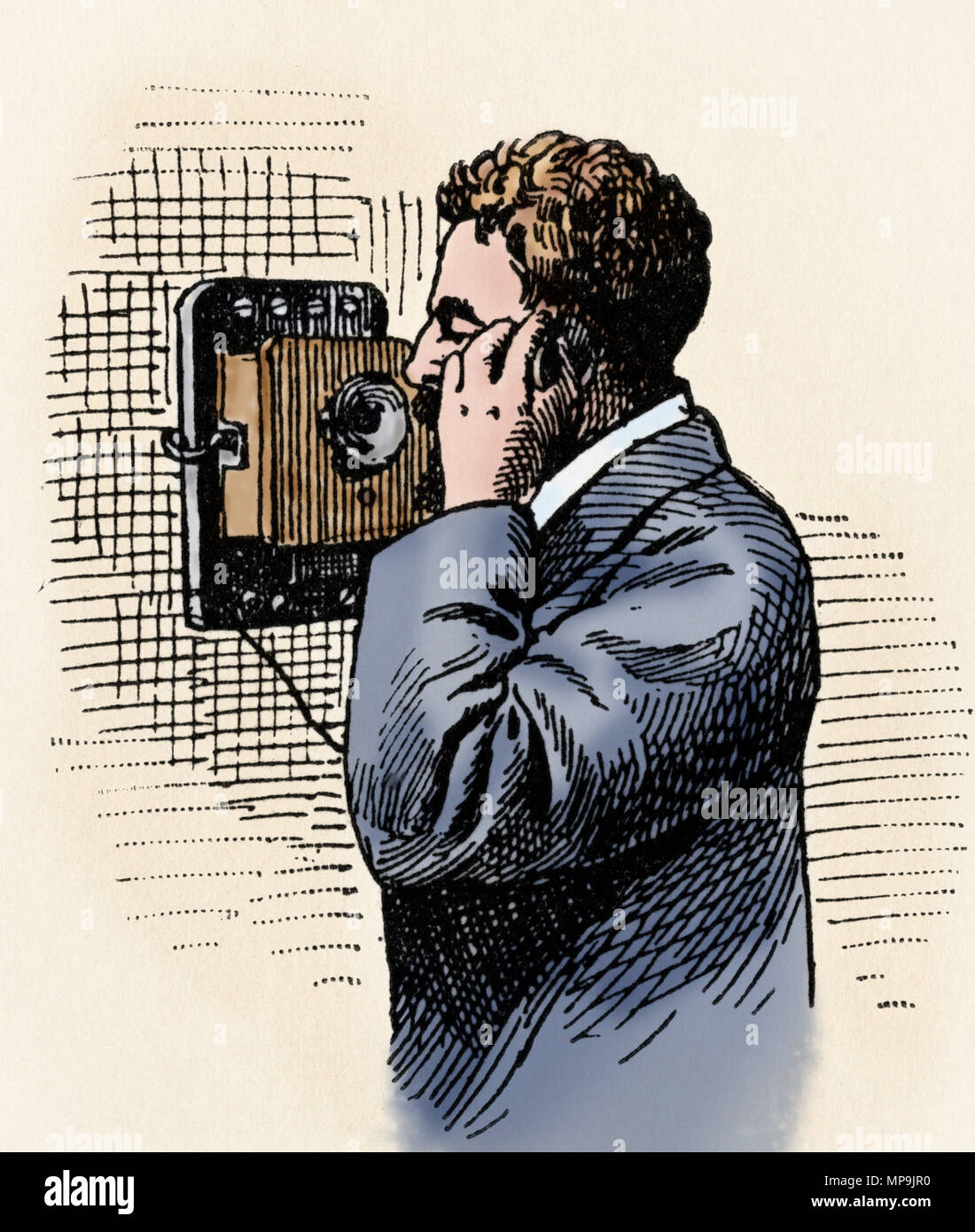 Early wall-mounted telephone, 1800s. Digitally colored woodcut - Stock Image