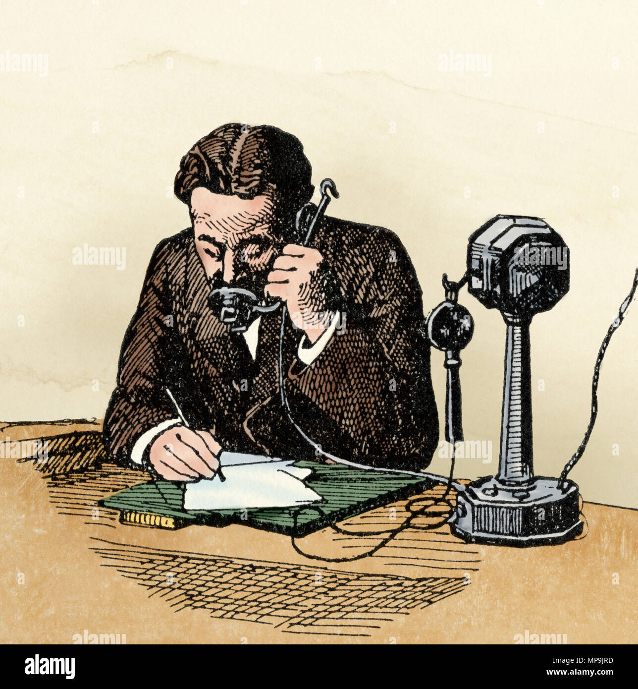Invention Of Telephone Stock Photos Transmitter Early Combining The And Receiver 1800s Digitally Colored Woodcut Image