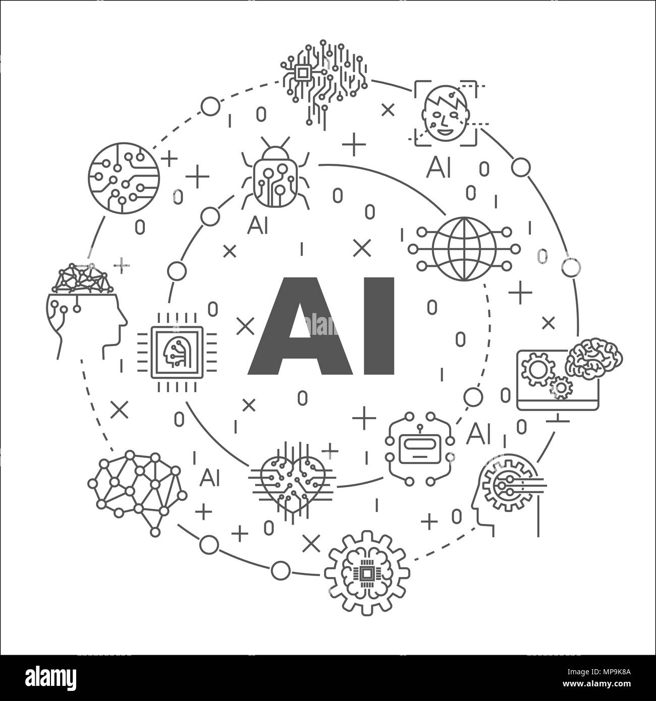 Linear illustration for presentations in the round. AI concept. Editable Stroke - Stock Image