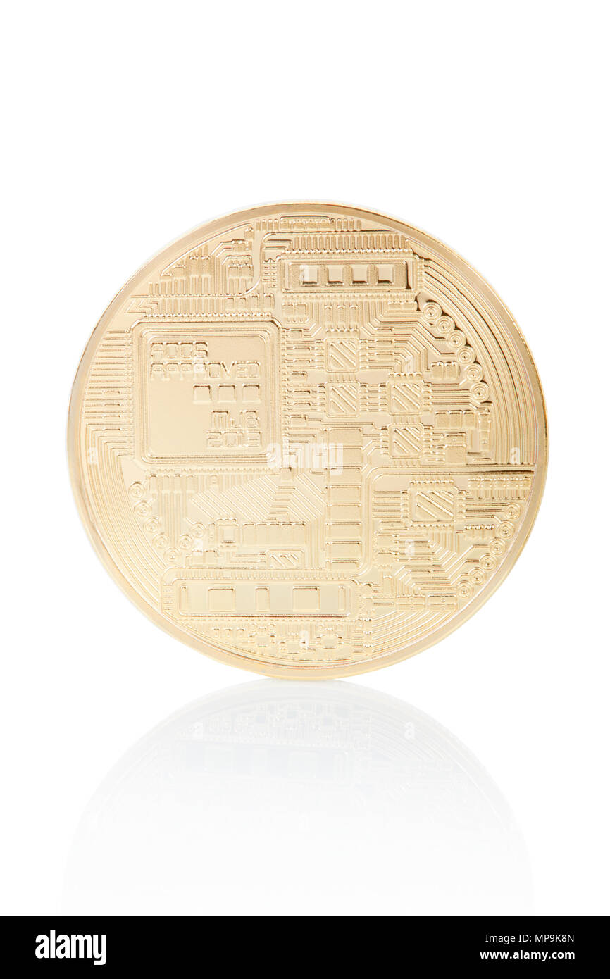 Bitcoin back, golden coin isolated on white, clipping path included - Stock Image