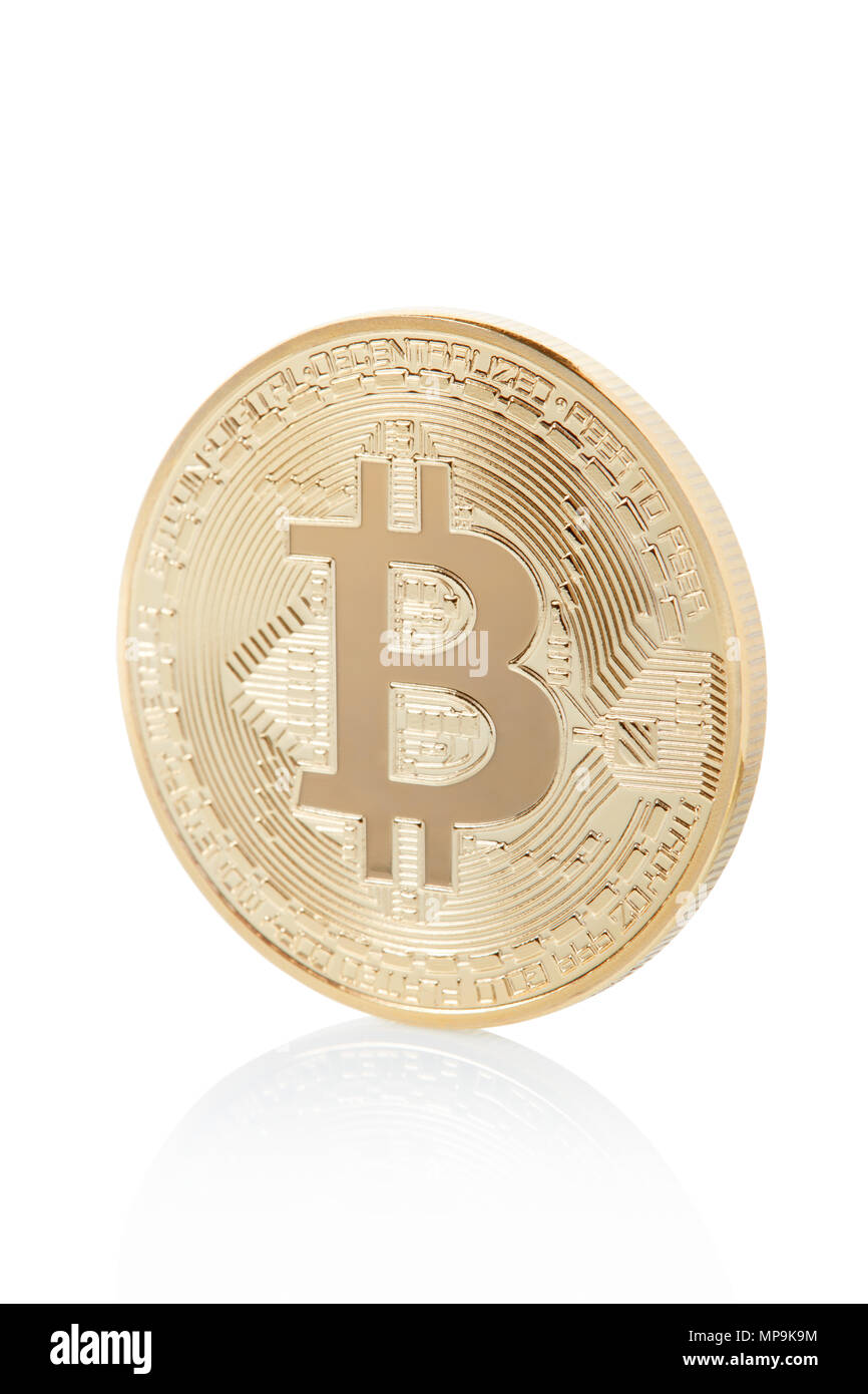 Bitcoin, golden coin lateral view isolated on white, clipping path included - Stock Image
