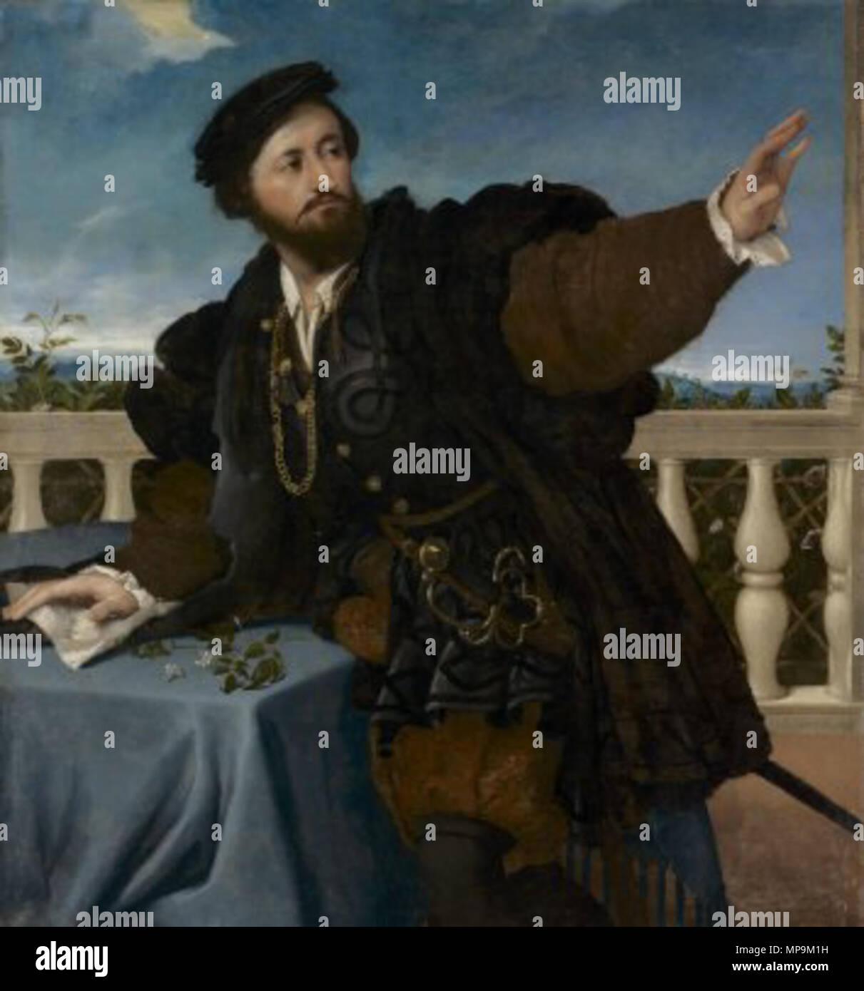 . A Nobleman on a Balcony . 1525.   Lorenzo Lotto (1480–)   Description Italian painter and fresco painter  Date of birth/death circa 1480 1556 / 1557  Location of birth/death Venice Loreto  Work location Recanati (1506-1508), Venice (1500), Treviso (1503-1506), Rome (1509-1512), Bergamo (1513-1525), Venice (1513-1517), Treviso (1525-1527), Venice (1527-1529), Loreto, Venice (1529-1539), Treviso (1540-1549), Ancona (1549), Loreto (1556)  Authority control  : Q310973 VIAF:22165049 ISNI:0000 0001 2320 0265 ULAN:500015631 LCCN:n50042418 NLA:35692463 WorldCat 820 Lorenzo Lotto 090 - Stock Image