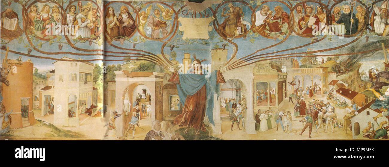 . Lotto, affreschi di trescore . 1524.   Lorenzo Lotto (1480–)   Description Italian painter and fresco painter  Date of birth/death circa 1480 1556 / 1557  Location of birth/death Venice Loreto  Work location Recanati (1506-1508), Venice (1500), Treviso (1503-1506), Rome (1509-1512), Bergamo (1513-1525), Venice (1513-1517), Treviso (1525-1527), Venice (1527-1529), Loreto, Venice (1529-1539), Treviso (1540-1549), Ancona (1549), Loreto (1556)  Authority control  : Q310973 VIAF:22165049 ISNI:0000 0001 2320 0265 ULAN:500015631 LCCN:n50042418 NLA:35692463 WorldCat 821 Lotto, affreschi di  - Stock Image