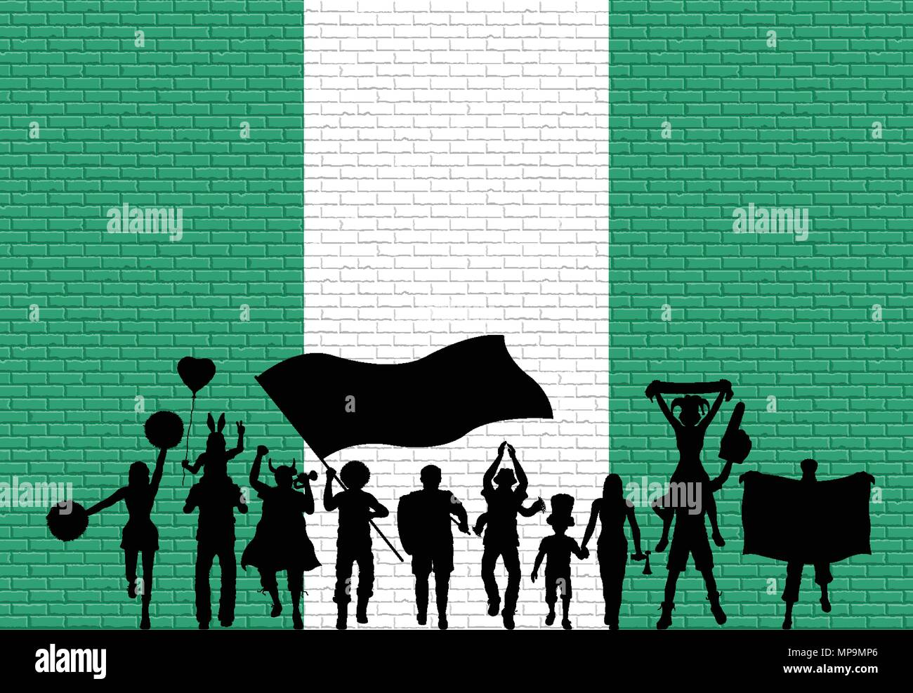 Nigerian supporter silhouette in front of brick wall with Nigeria flag. All the objects, silhouettes and the brick wall are in different layers. - Stock Vector