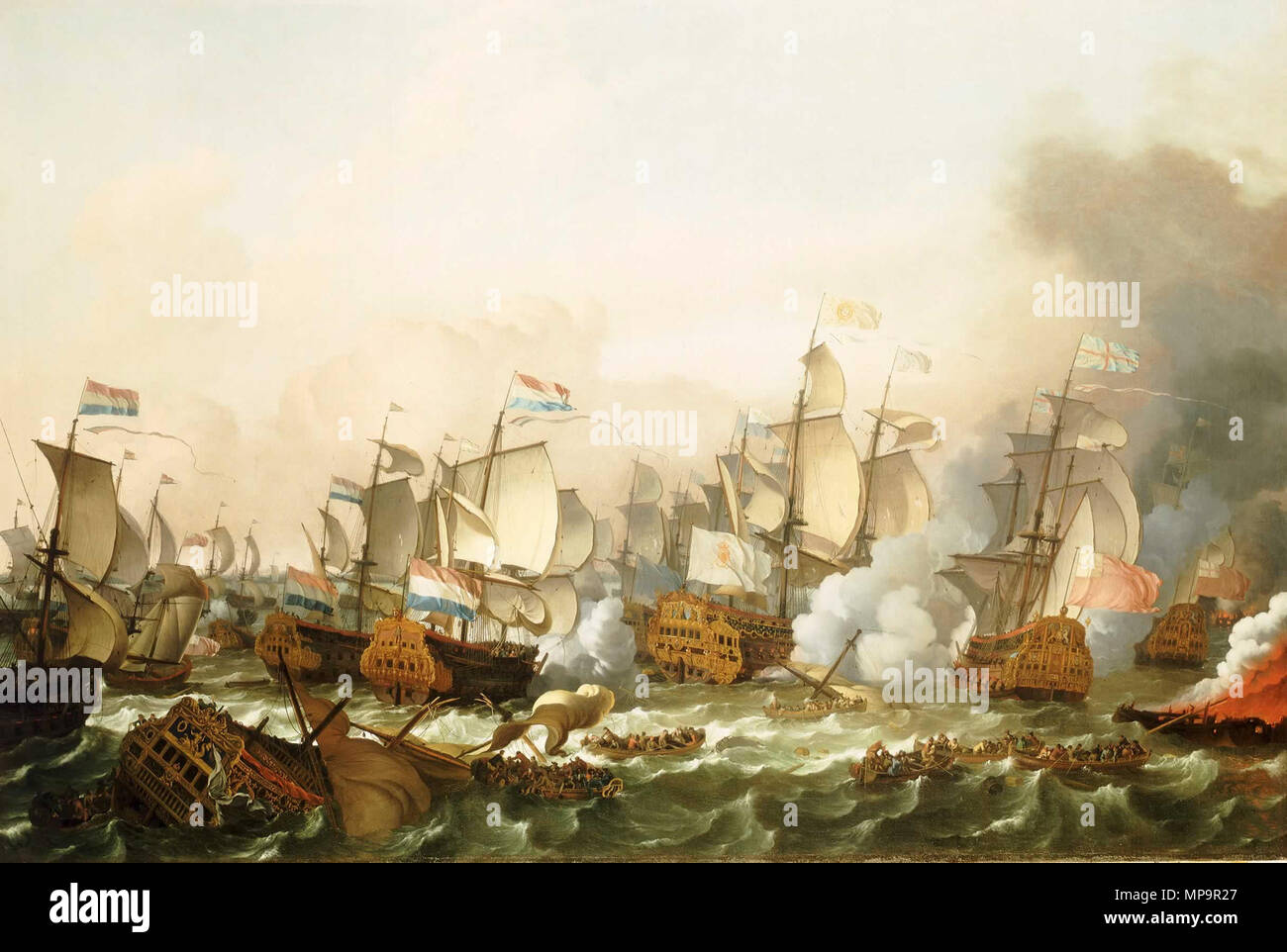 English: The Battle of Barfleur, 19 May 1692 Deutsch: Seeschlacht bei Barfleur 1692 .  English: Early in 1692, James II was at Cherbourg, preparing to re-invade England with French help. On 17 May the French fleet sailed from Brest and were attacked by a superior Anglo-Dutch force under Admiral Russell, off Cape Barfleur. The French escaped but a few days later the allies burnt three of their ships including their flagship the 'Soleil Royal', 104 guns, in Cherbourg Bay. On 23-24 May, James II saw 12 more French ships and most of his transports burnt in the Bay of La Hogue. This ended all real  - Stock Image