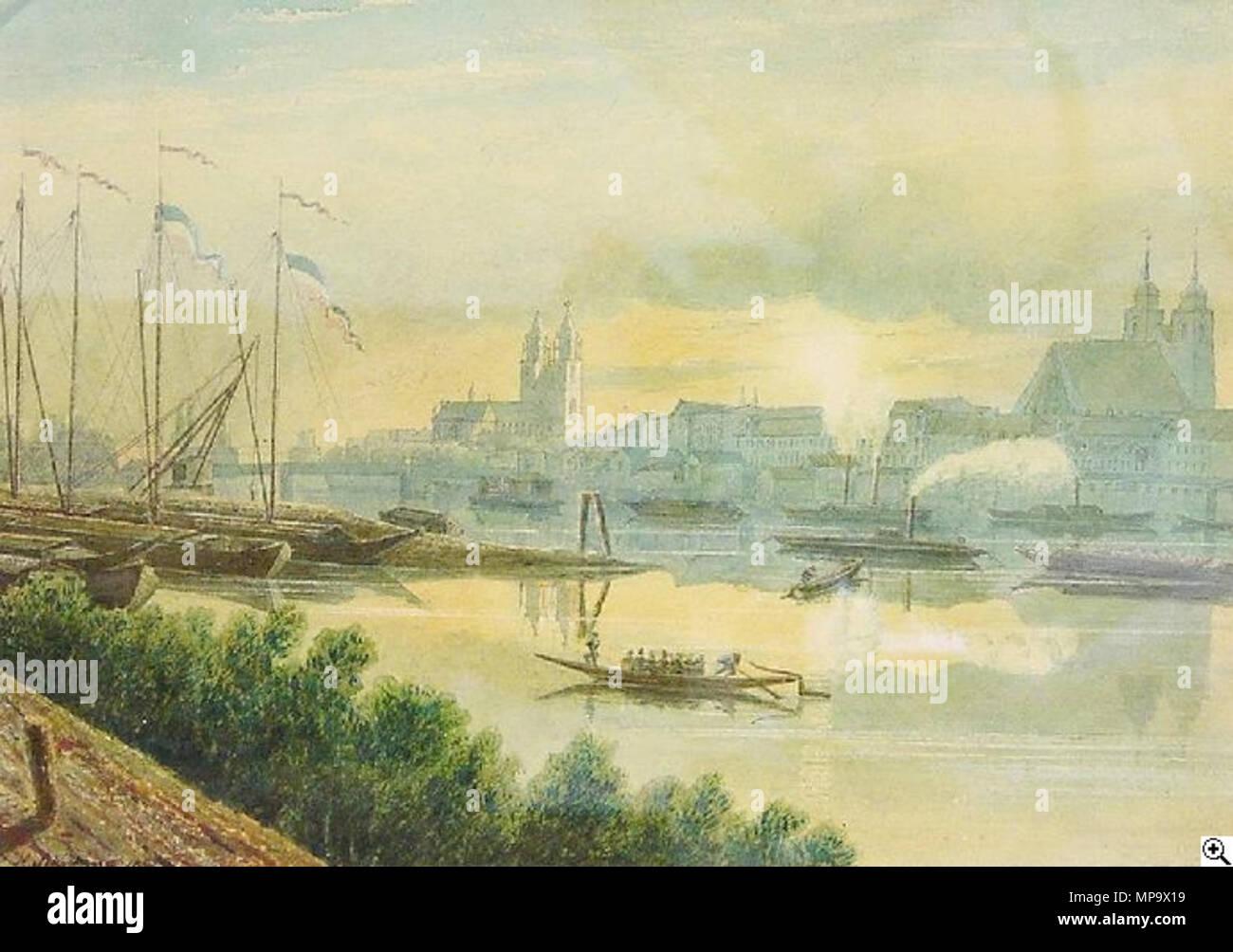 Magdeburg an der Elbe Elbpanorama mit Schiffen auf dem Fluß ...