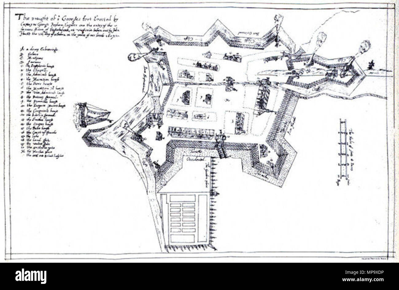English: Map of the Popham Colony in Southern Maine as drawn by John on