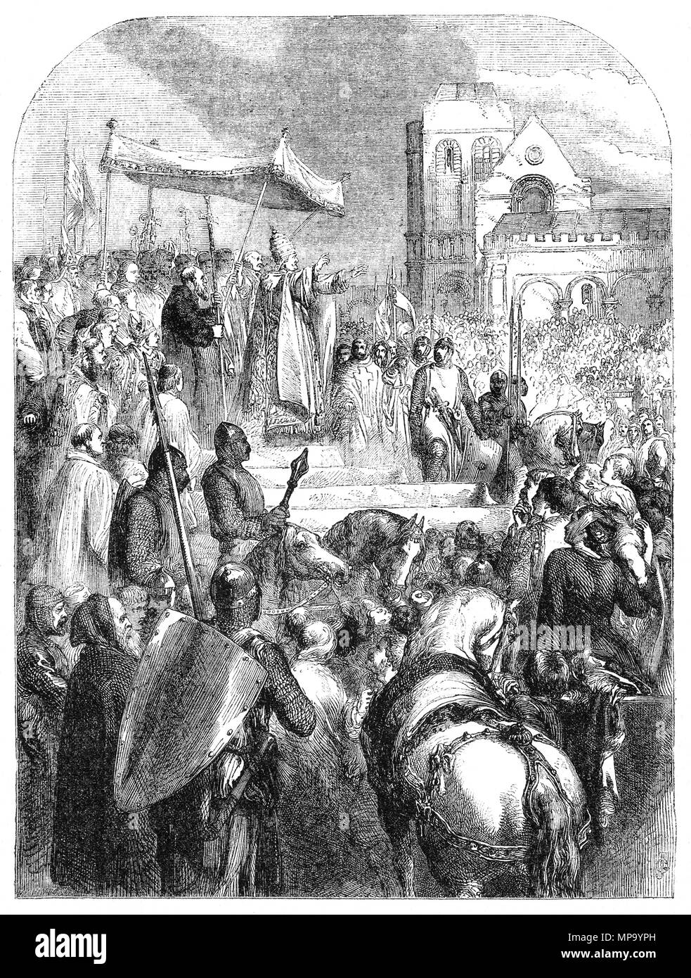 Pope Urban II preaching during Council of Clermont in 1095 for the First Crusade (1095–1099) to recapture the Holy Land. It was a military expedition to aid the Byzantine Empire, which had recently lost most of Anatolia to the Seljuq Turks. The resulting military expedition of primarily Frankish nobles, known as the Princes' Crusade not only re-captured Anatolia but went on to conquer the Holy Land (the Levant), which had fallen to Islamic expansion as early as in the 7th century, and culminated in July 1099 in the re-conquest of Jerusalem and the establishment of the Kingdom of Jerusalem. - Stock Image
