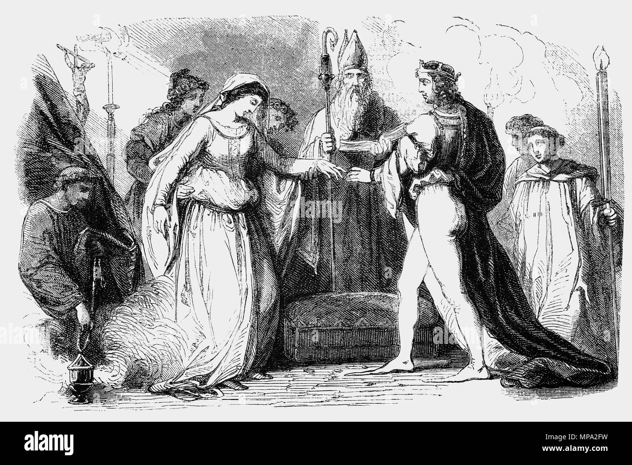 On 11 November 1100 King Henry I (1068–1135), fourth son of William the Conqueror, married Matilda, the daughter of Malcolm III of Scotland in Westminster Abbey on November 11, 1100. Although Henry and Matilda were emotionally close, their union was also politically motivated. Matilda was a member of the West Saxon royal family, being the niece of Edgar the Ætheling, the great-granddaughter of Edmund Ironside and a descendant of Alfred the Great.  For Matilda, an ambitious woman, it was an opportunity for high status and power in England. - Stock Image