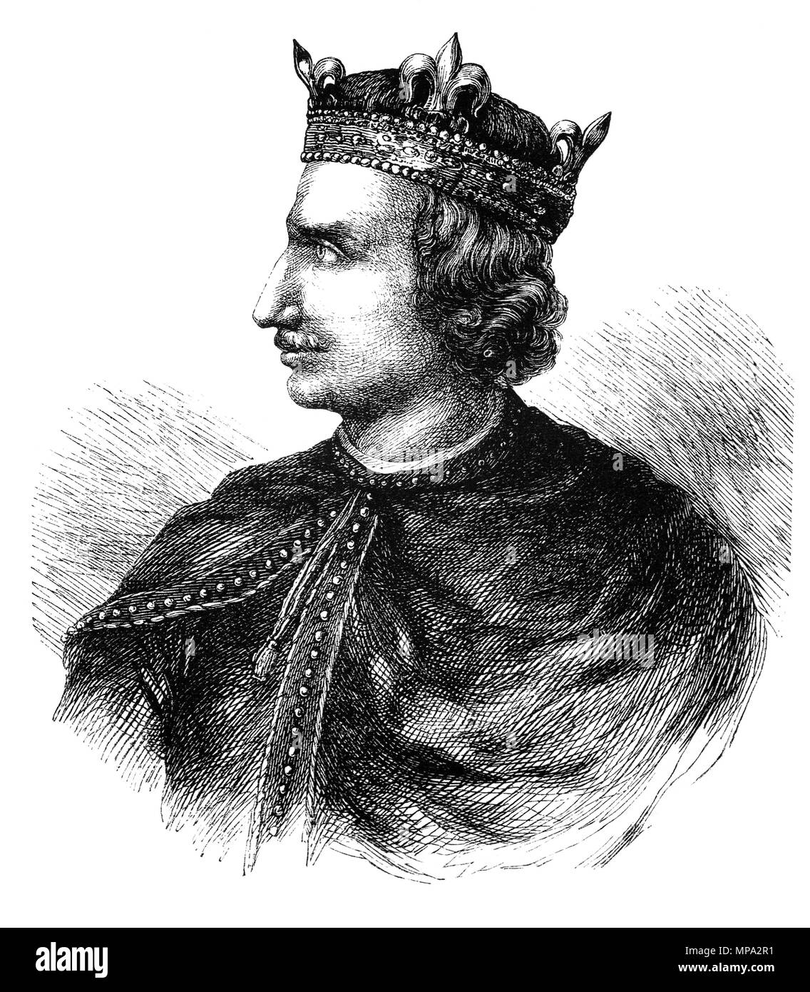 Henry I (1068-1135), was King of England from 1100 to his death. He was the fourth son of William the Conqueror and on William's death in 1087, Henry's elder brothers Robert Curthose and William Rufus inherited Normandy and England, respectively, but Henry was left landless. Henry gradually rebuilt his power base in the Cotentin and allied himself with William against Robert. Henry was present when William died in a hunting accident in 1100, and he seized the English throne, promising at his coronation to correct many of William's less popular policies. Stock Photo