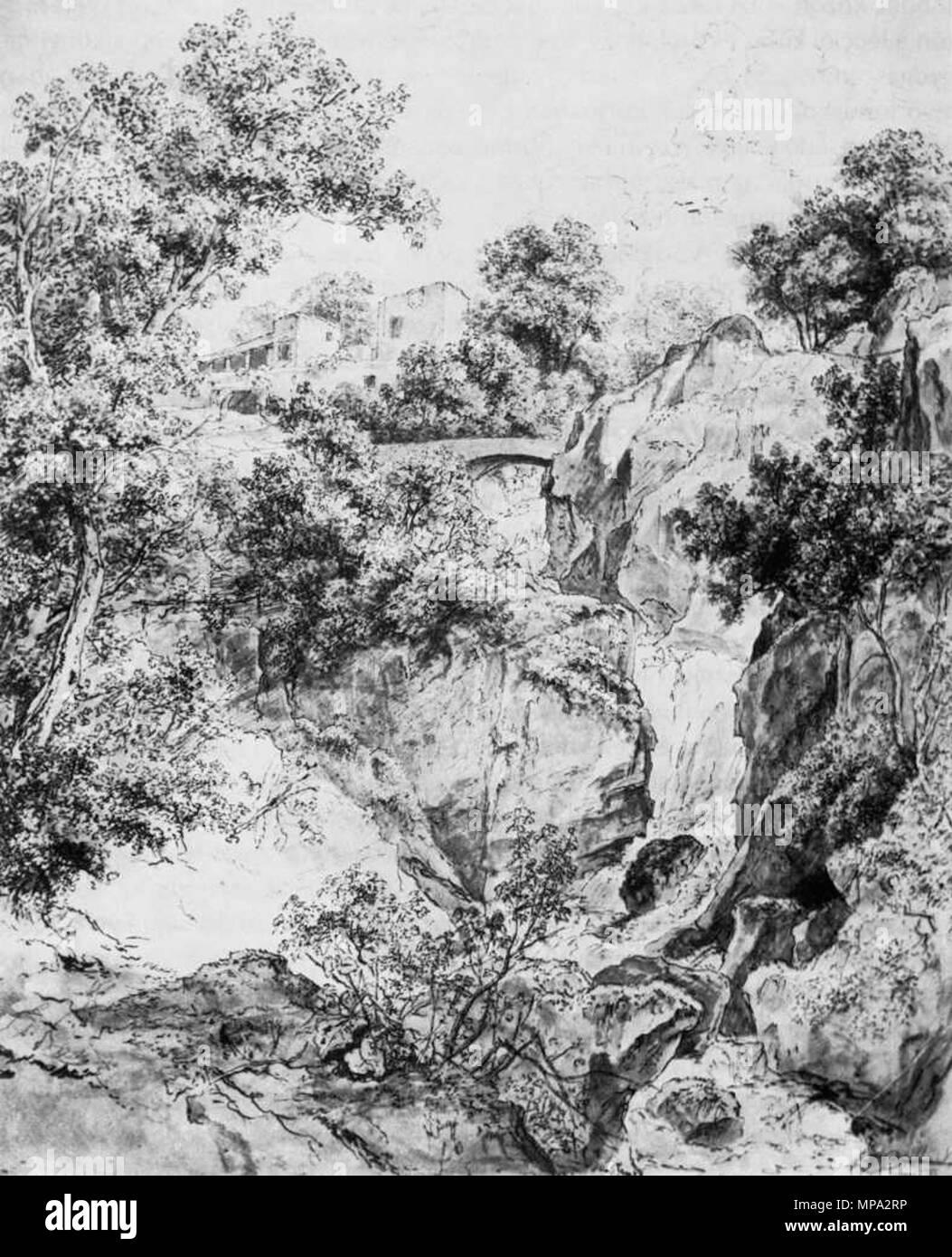 863 Markó, Károly - Landscape with Waterfall (ca1840) Stock Photo