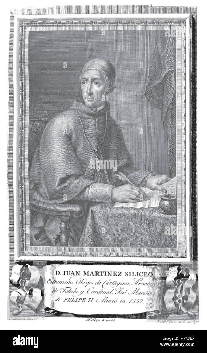 . Retrato del Cardenal Juan Martínez Silíceo. 1791. Grabado de Manuel Alegre por dibujo de José Maea 866 Juan Martinez Siliceo - Stock Image
