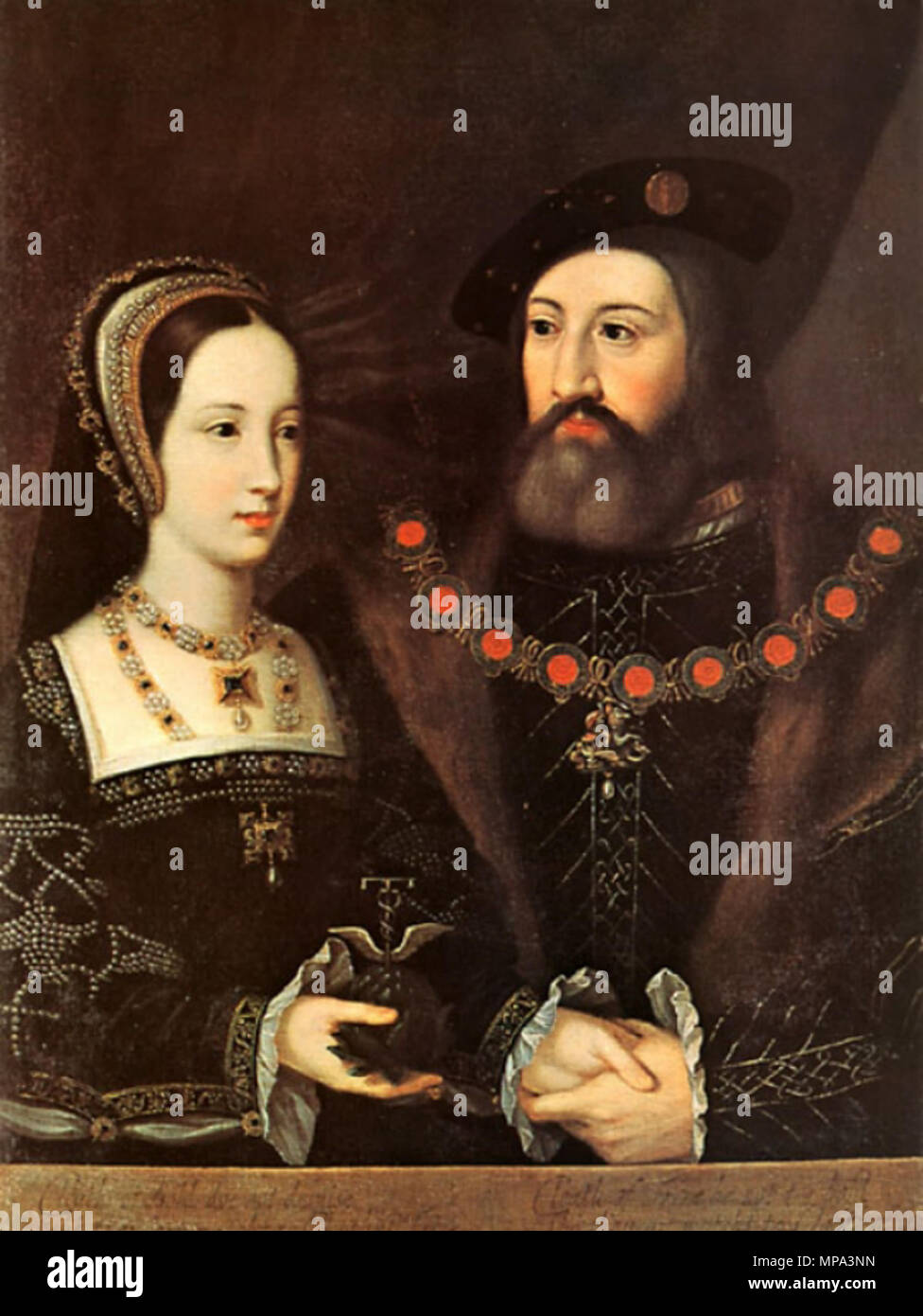 English: Portrait of Mary Tudor and Charles Brandon .  English: This is the original painting of Mary Tudor and Charles Brandon's wedding portrait by Jan Mabuse in the collection of the Earl of Yarborough; Brocklesby Park, Lincolnshire. There exist several copies. Deutsch: Original des Hochzeitsporträts von Mary Tudor und Charles Brandon von Jan Mabuse in der Sammlung des Earl of Yarborough; Brocklesby Park, Lincolnshire. Mehrere Kopien existieren. . circa 1516.   867 Mary Tudor and Charles Brandon original - Stock Image