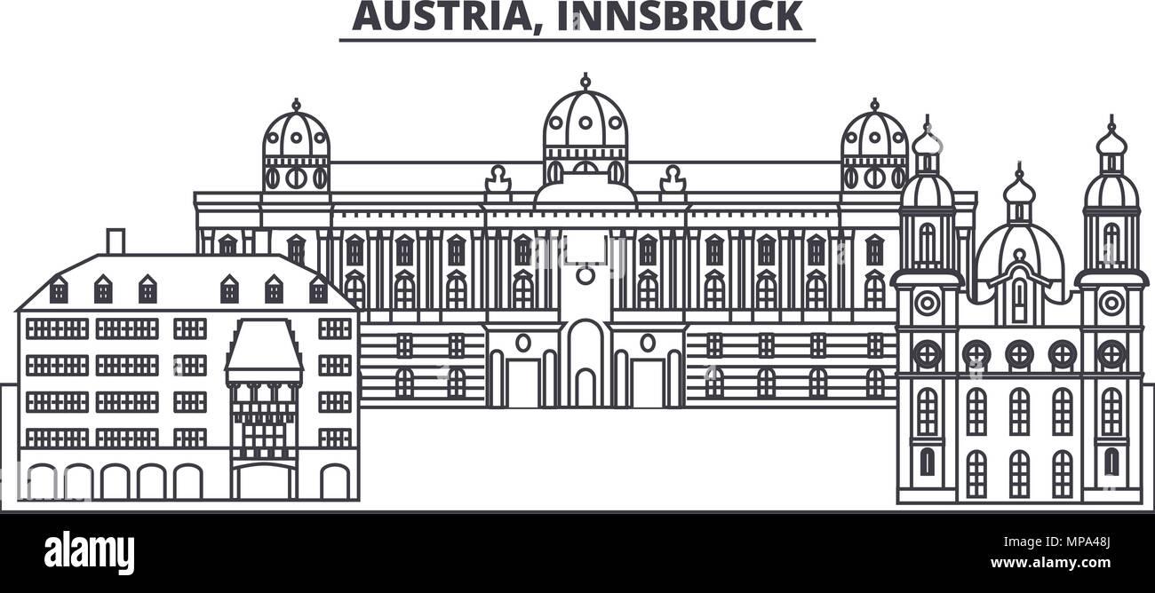 Austria,Innsburck line skyline vector illustration. Austria,Innsburck linear cityscape with famous landmarks, city sights, vector landscape.  Stock Vector