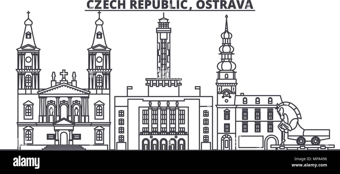 Czech Republic, Ostrava line skyline vector illustration. czech Republic, Ostrava linear cityscape with famous landmarks, city sights, vector design landscape. - Stock Image