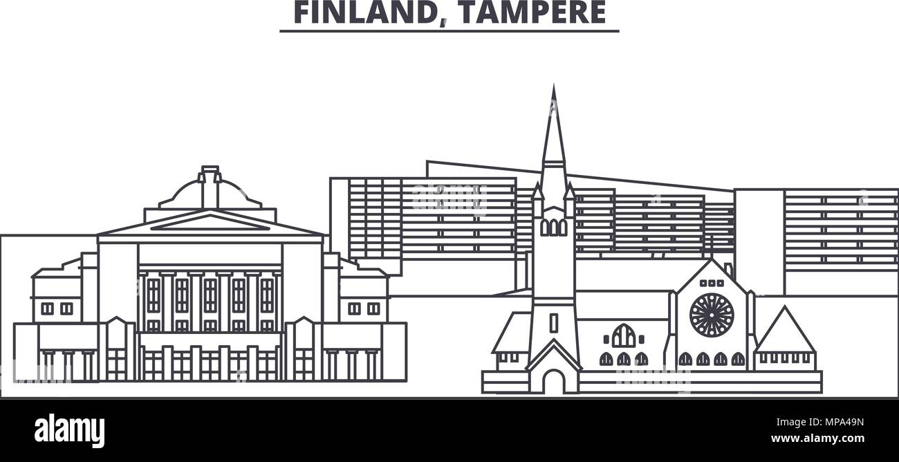 Finland, Tampere line skyline vector illustration. Finland, Tampere linear cityscape with famous landmarks, city sights, vector landscape.  - Stock Vector