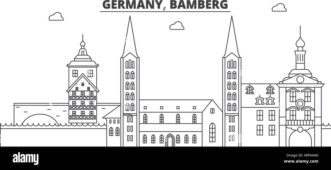Germany, Bamberg line skyline vector illustration. Germany, Bamberg linear cityscape with famous landmarks, city sights, vector landscape.  - Stock Vector