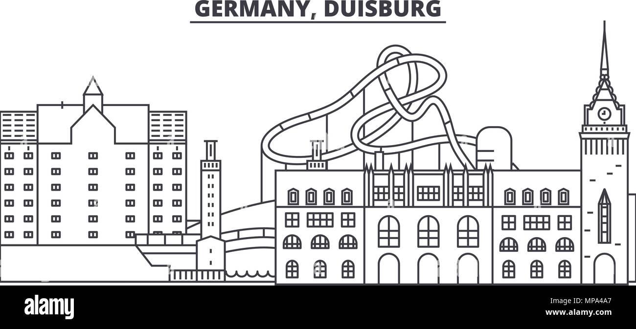 Germany, Duisburg line skyline vector illustration. Germany, Duisburg linear cityscape with famous landmarks, city sights, vector landscape.  - Stock Image