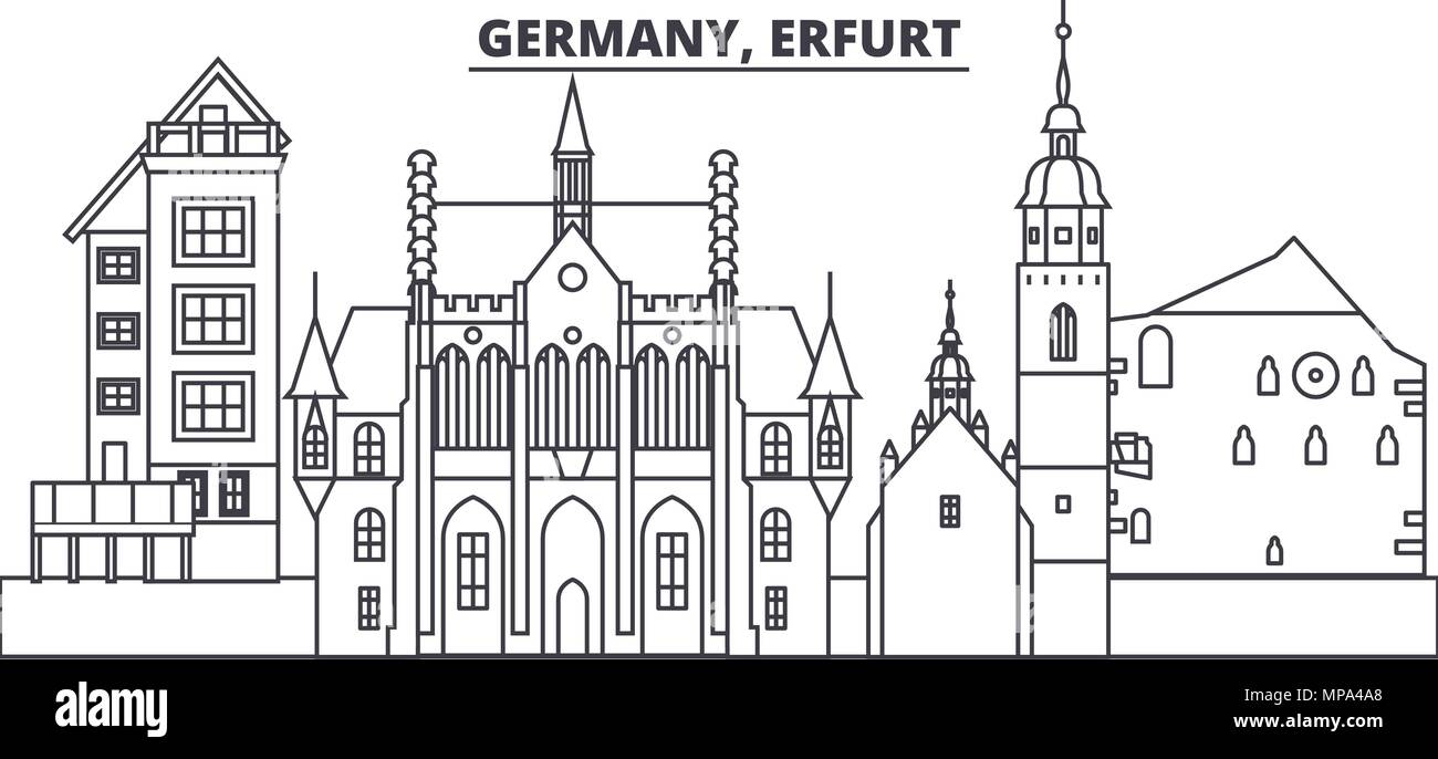 Germany, Erfurt line skyline vector illustration. Germany, Erfurt linear cityscape with famous landmarks, city sights, vector landscape.  - Stock Vector