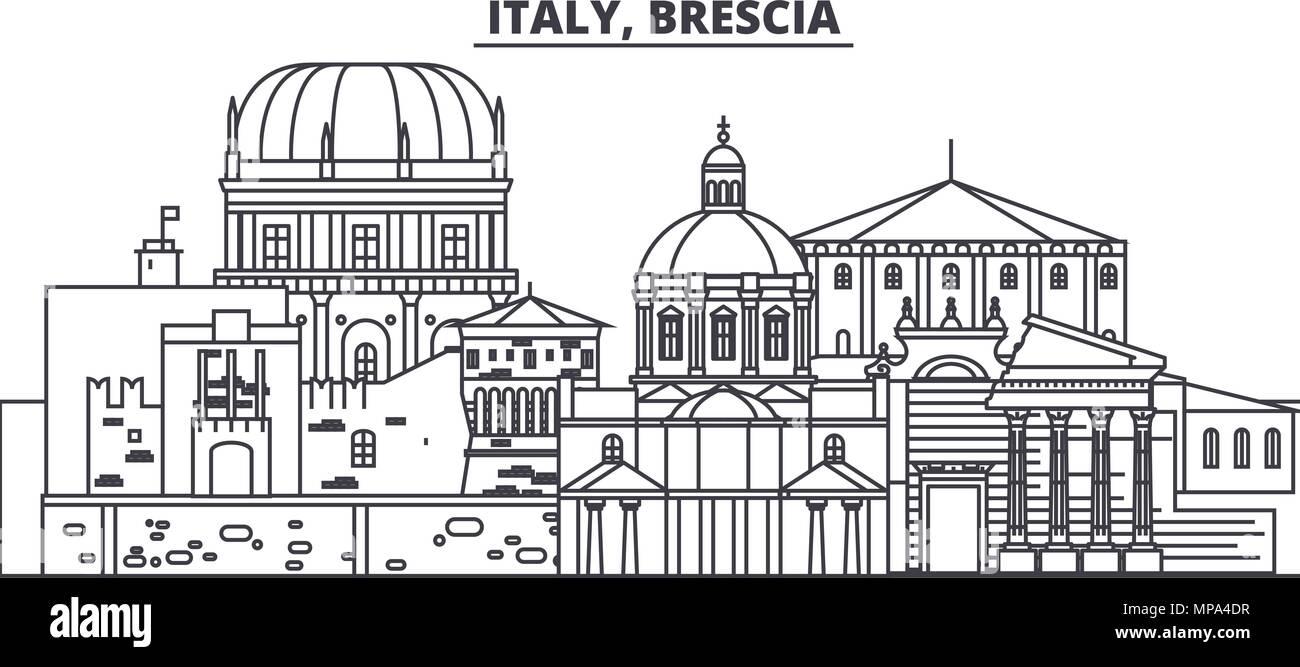 Italy, Brescia line skyline vector illustration. Italy, Brescia linear cityscape with famous landmarks, city sights, vector landscape.  Stock Vector