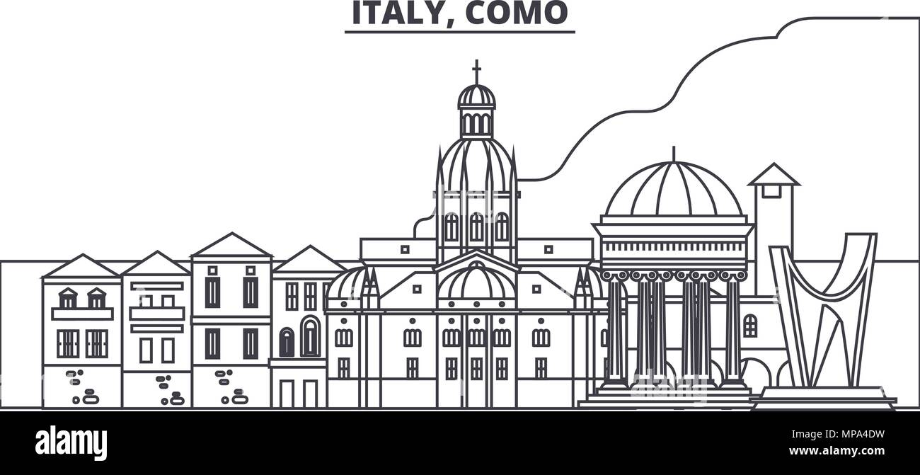Italy, Como line skyline vector illustration. Italy, Como linear cityscape with famous landmarks, city sights, vector landscape.  - Stock Vector