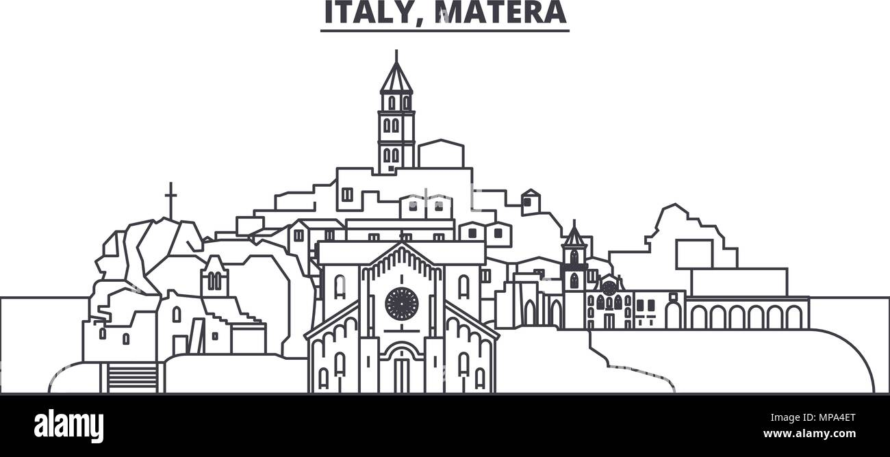 Italy, Matera line skyline vector illustration. Italy, Matera linear cityscape with famous landmarks, city sights, vector landscape.  Stock Vector
