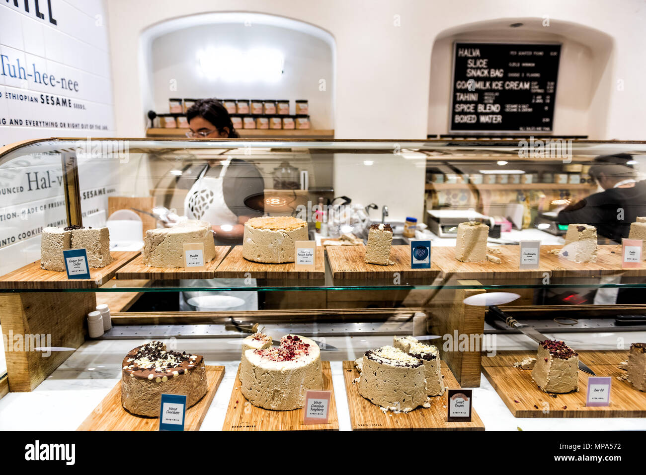 New York City, USA - October 30, 2017: Market food shop interior inside in downtown lower Chelsea neighborhood district Manhattan NYC, Seed Mill, many - Stock Image