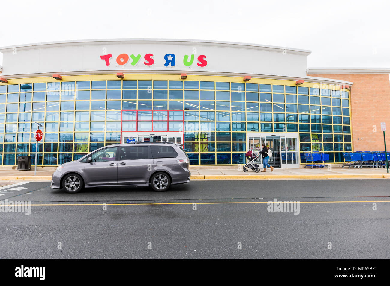ordinary Toys R Us Sterling Part - 6: Sterling, USA - April 4, 2018: Toys R US store in Fairfax county, Virginia  for children shop exterior entrance with sign, logo, doors, closing going o