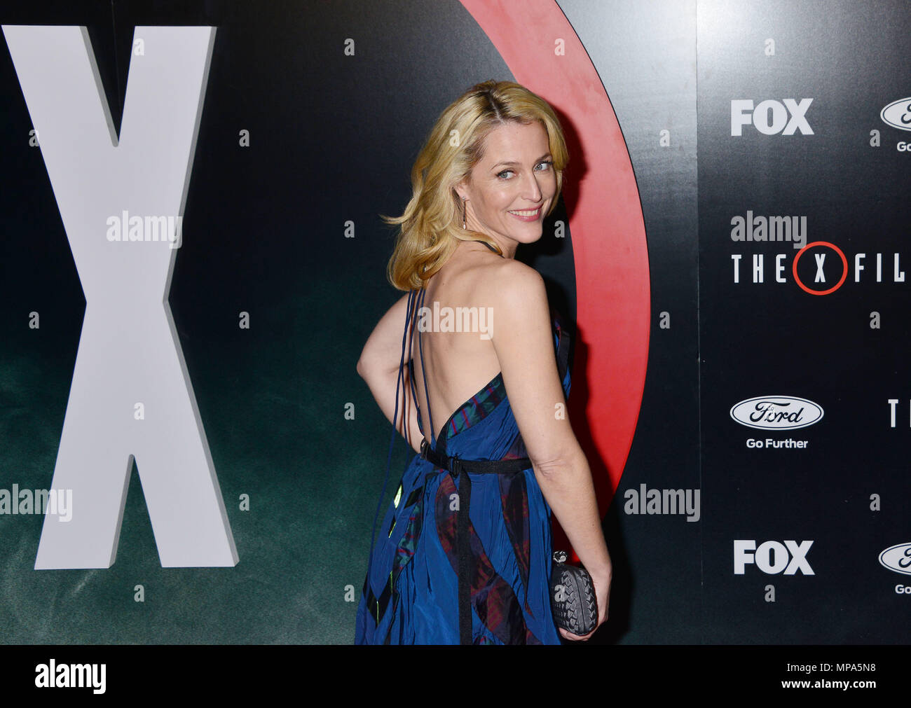 a_Gillian Anderson 006  at The X-Files Premiere at California Science Center in Los Angeles, CA  January 12, 2016.a_Gillian Anderson 006 ------------- Red Carpet Event, Vertical, USA, Film Industry, Celebrities,  Photography, Bestof, Arts Culture and Entertainment, Topix Celebrities fashion /  Vertical, Best of, Event in Hollywood Life - California,  Red Carpet and backstage, USA, Film Industry, Celebrities,  movie celebrities, TV celebrities, Music celebrities, Photography, Bestof, Arts Culture and Entertainment,  Topix, Three Quarters, vertical, one person,, from the year , 2016, inquiry tsu - Stock Image