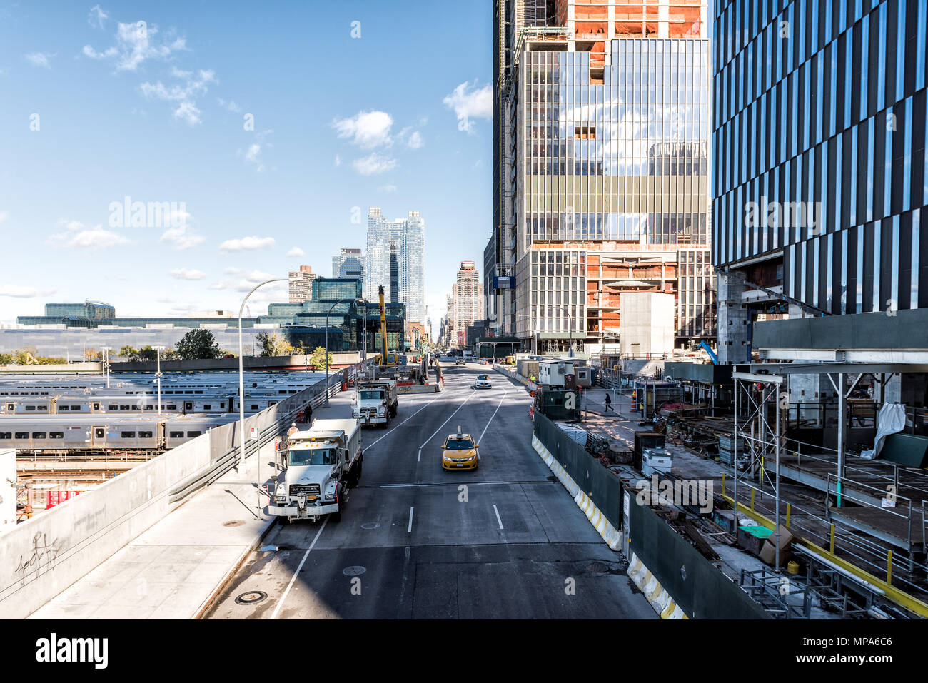 New York City, USA - October 30, 2017: View of the Hudson Yards train depot and building development from the High Line, an elevated urban park in NYC Stock Photo