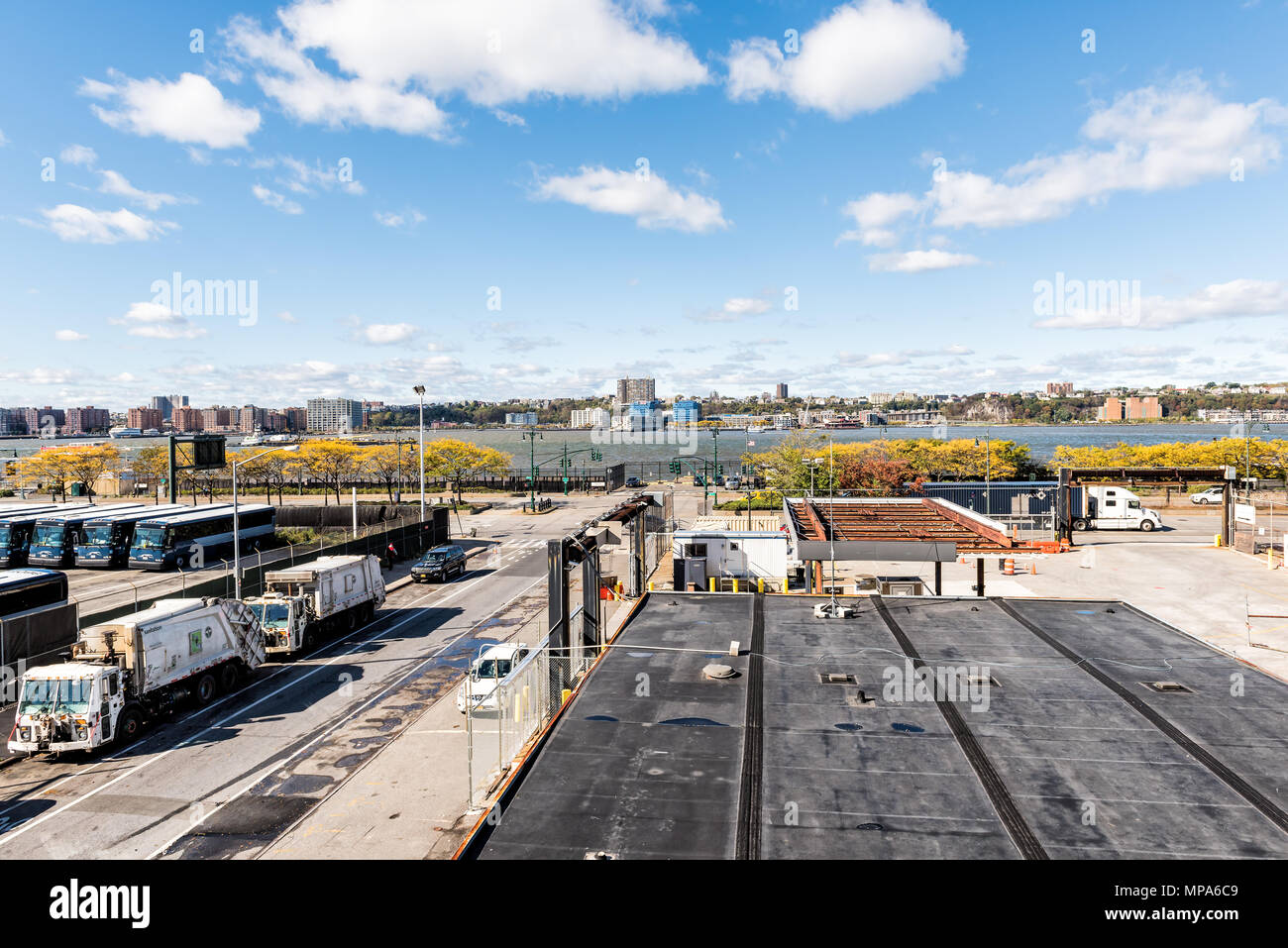 New York City, USA - October 30, 2017: View of Hudson River from highline, high line, urban in NYC with buses, people, in Chelsea West Side by Hudson  Stock Photo