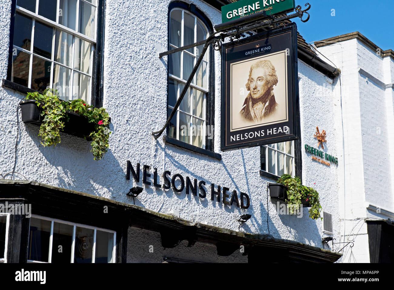 Pub sign - Nelson's Head - St Ives, Cambridgeshire, England UK - Stock Image