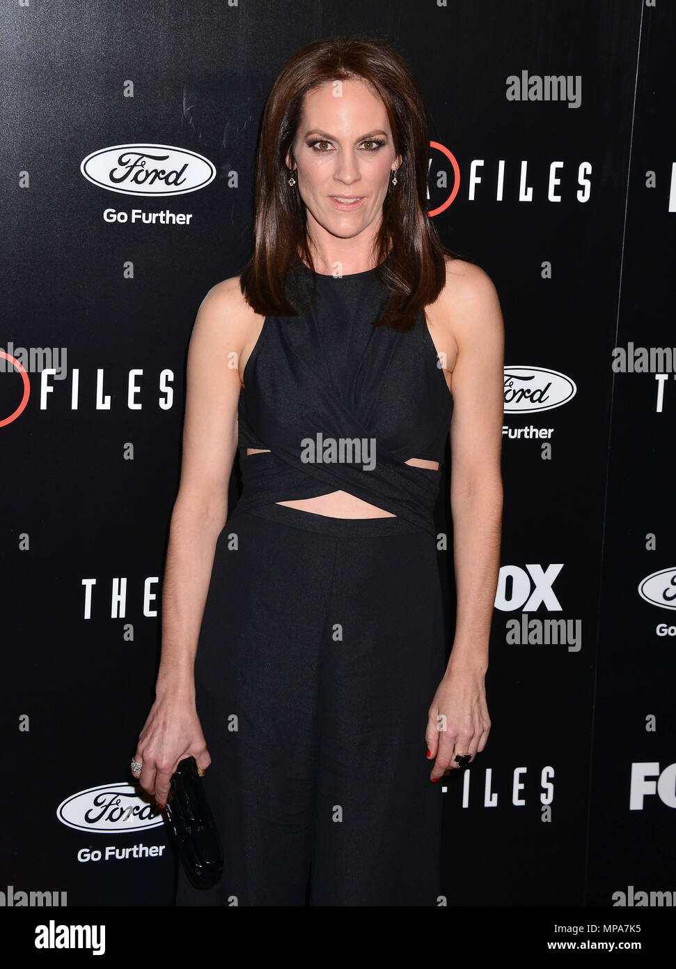 Annabeth Gish 047  at The X-Files Premiere at California Science Center in Los Angeles, CA  January 12, 2016.Annabeth Gish 047 ------------- Red Carpet Event, Vertical, USA, Film Industry, Celebrities,  Photography, Bestof, Arts Culture and Entertainment, Topix Celebrities fashion /  Vertical, Best of, Event in Hollywood Life - California,  Red Carpet and backstage, USA, Film Industry, Celebrities,  movie celebrities, TV celebrities, Music celebrities, Photography, Bestof, Arts Culture and Entertainment,  Topix, Three Quarters, vertical, one person,, from the year , 2016, inquiry tsuni@Gamma-U - Stock Image