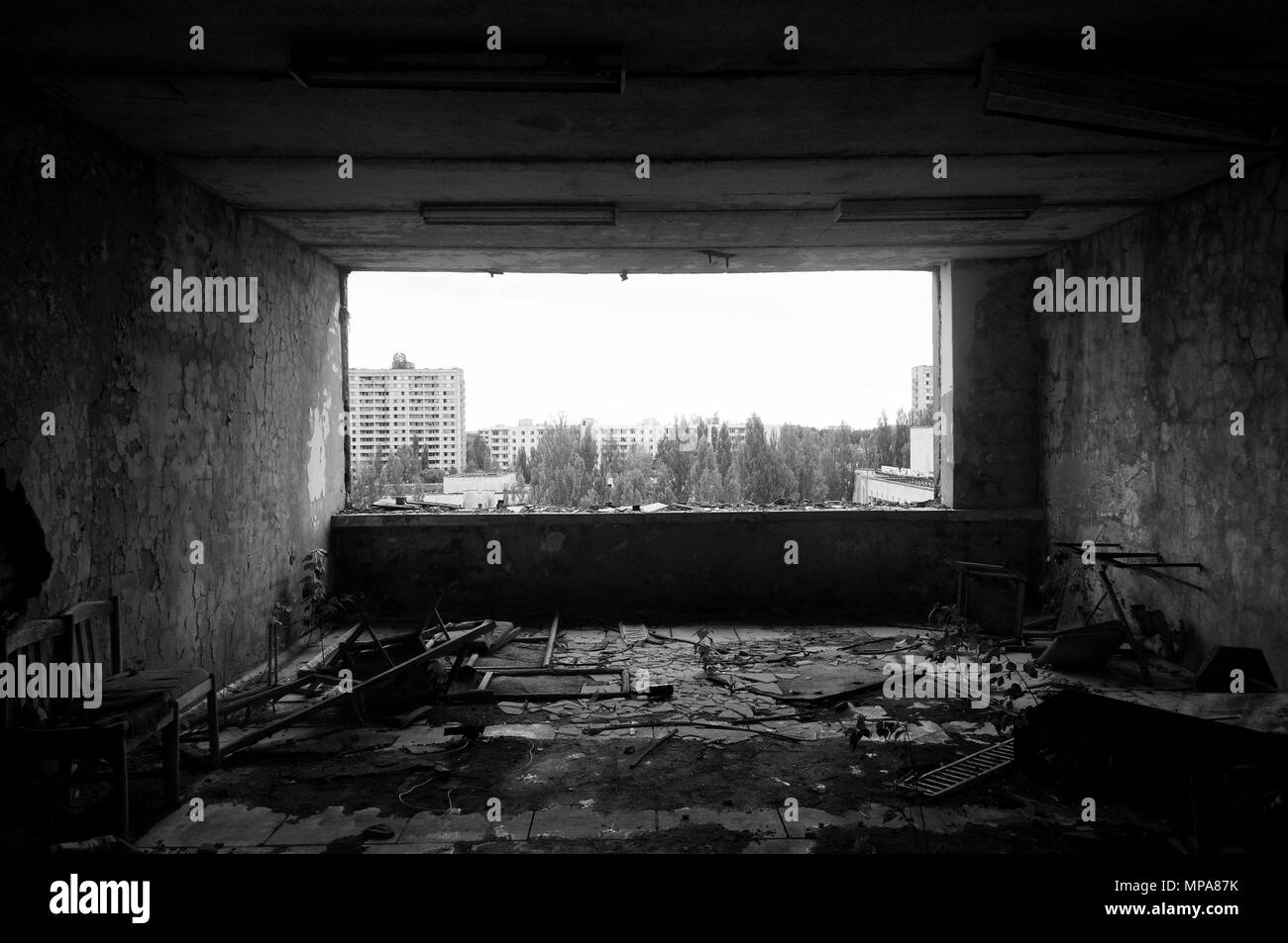 Pripyat after the Chernobyl disaster - Stock Image