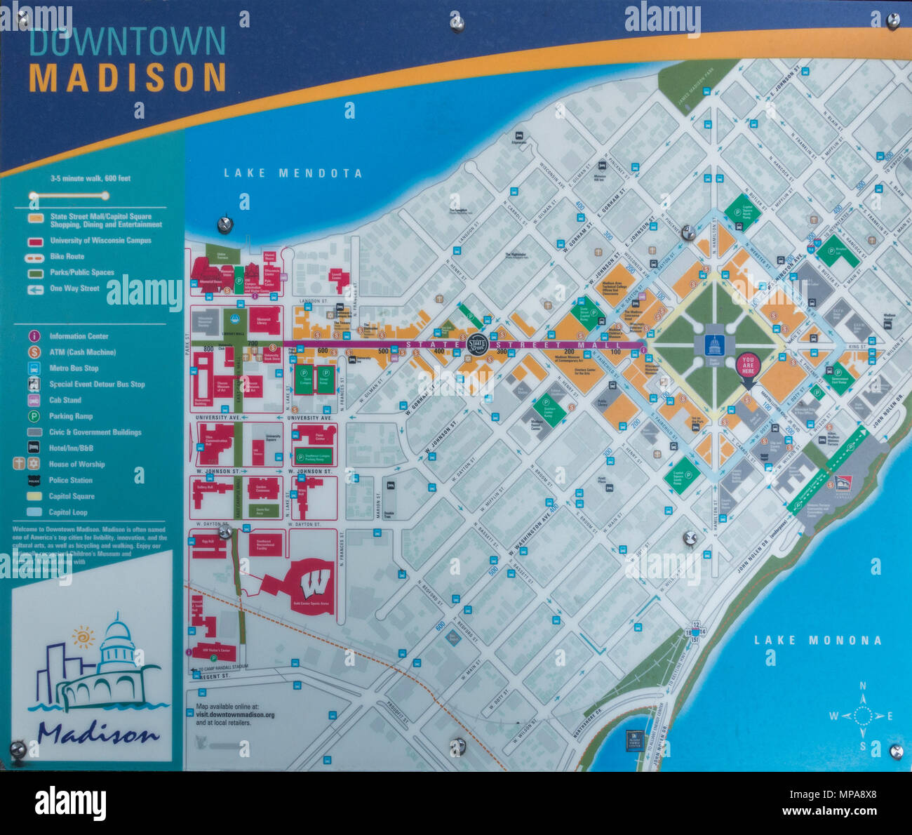 downtown Madison Wisconsin map Stock Photo: 185852640 - Alamy