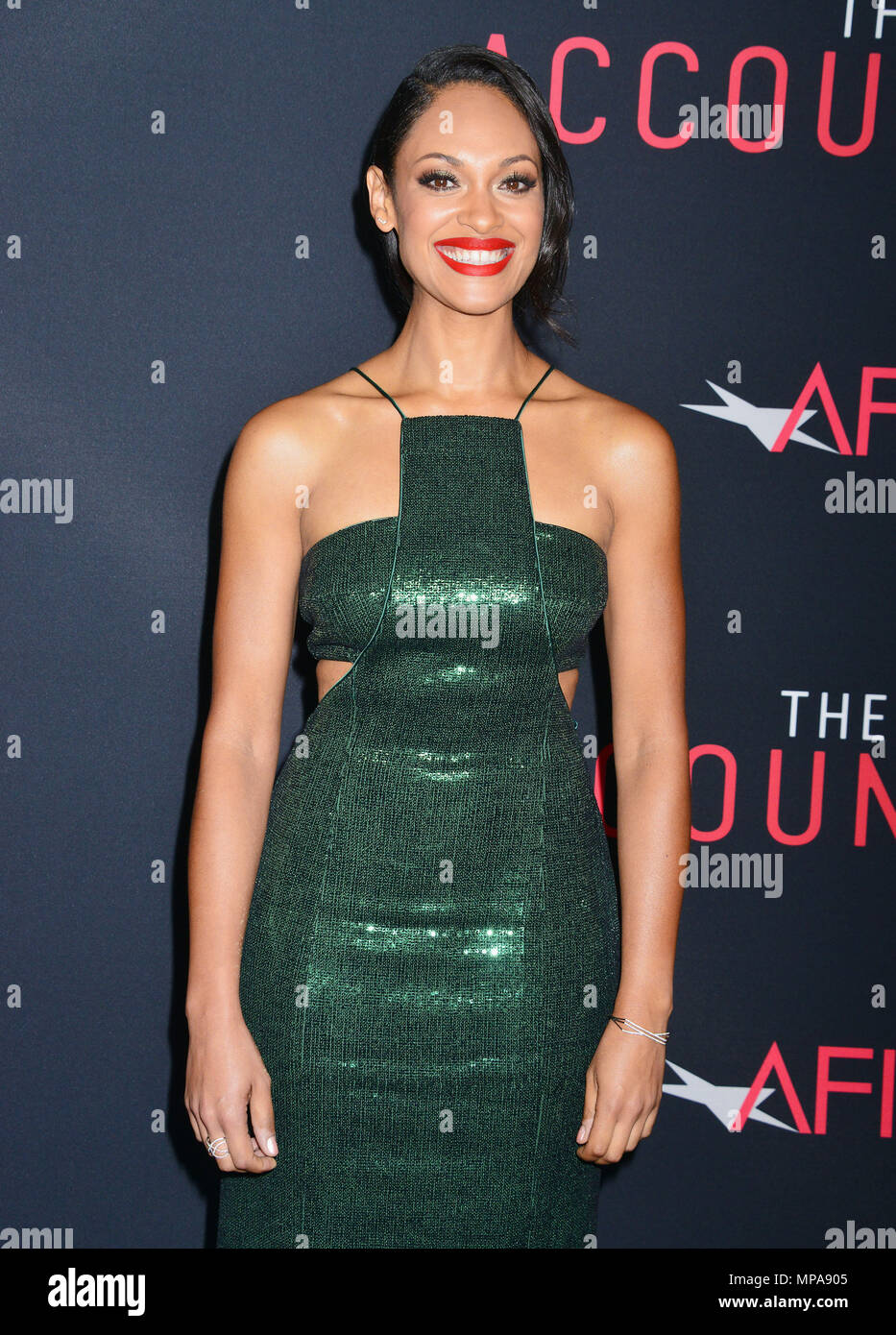 Cynthia Addai-Robinson 035 at The Accountant Premiere at the TCL Chinese Theatre in Los Angeles. October 10, 2016.Cynthia Addai-Robinson 035 ------------- Red Carpet Event, Vertical, USA, Film Industry, Celebrities,  Photography, Bestof, Arts Culture and Entertainment, Topix Celebrities fashion /  Vertical, Best of, Event in Hollywood Life - California,  Red Carpet and backstage, USA, Film Industry, Celebrities,  movie celebrities, TV celebrities, Music celebrities, Photography, Bestof, Arts Culture and Entertainment,  Topix, Three Quarters, vertical, one person,, from the year , 2016, inquiry Stock Photo