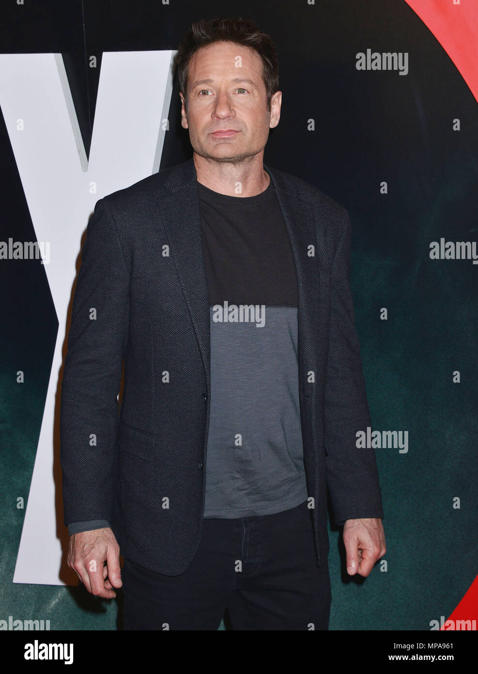 David Duchovny 025  at The X-Files Premiere at California Science Center in Los Angeles, CA  January 12, 2016.David Duchovny 025 ------------- Red Carpet Event, Vertical, USA, Film Industry, Celebrities,  Photography, Bestof, Arts Culture and Entertainment, Topix Celebrities fashion /  Vertical, Best of, Event in Hollywood Life - California,  Red Carpet and backstage, USA, Film Industry, Celebrities,  movie celebrities, TV celebrities, Music celebrities, Photography, Bestof, Arts Culture and Entertainment,  Topix, Three Quarters, vertical, one person,, from the year , 2016, inquiry tsuni@Gamma - Stock Image