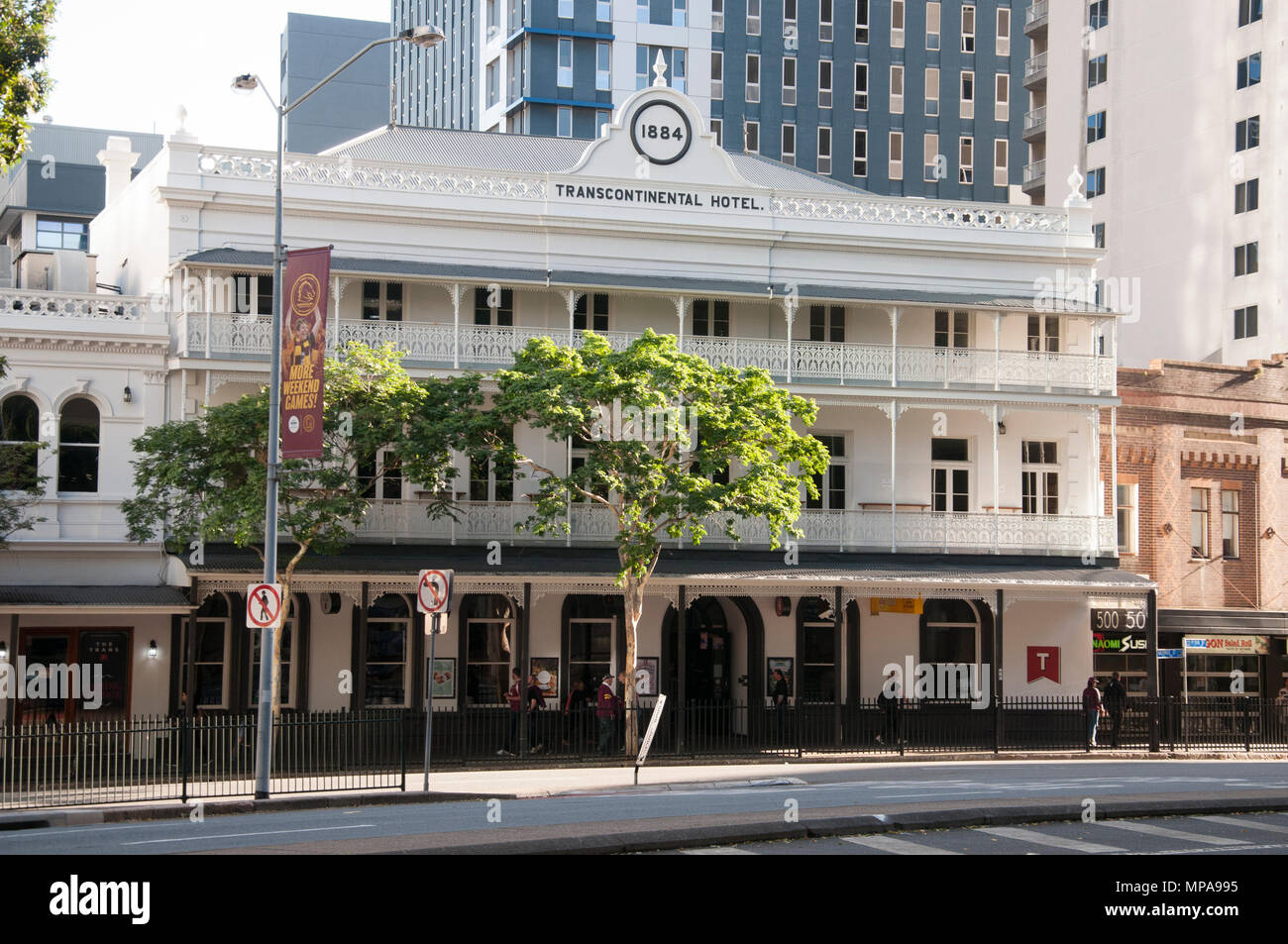 The Victorian-era Transcontinental Hotel (1884) on Roma Street, Brisbane, Queensland, Australia - Stock Image
