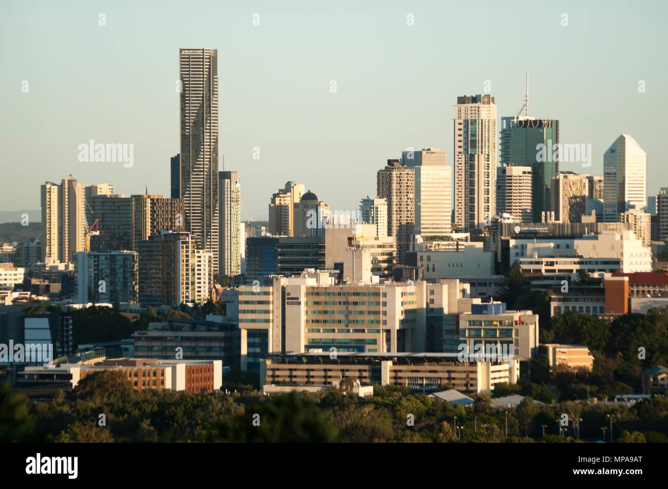 City CBD skyine of Brisbane, the Queensland state capital from Eildon Hill, Windsor, Queensland, Australia - Stock Image