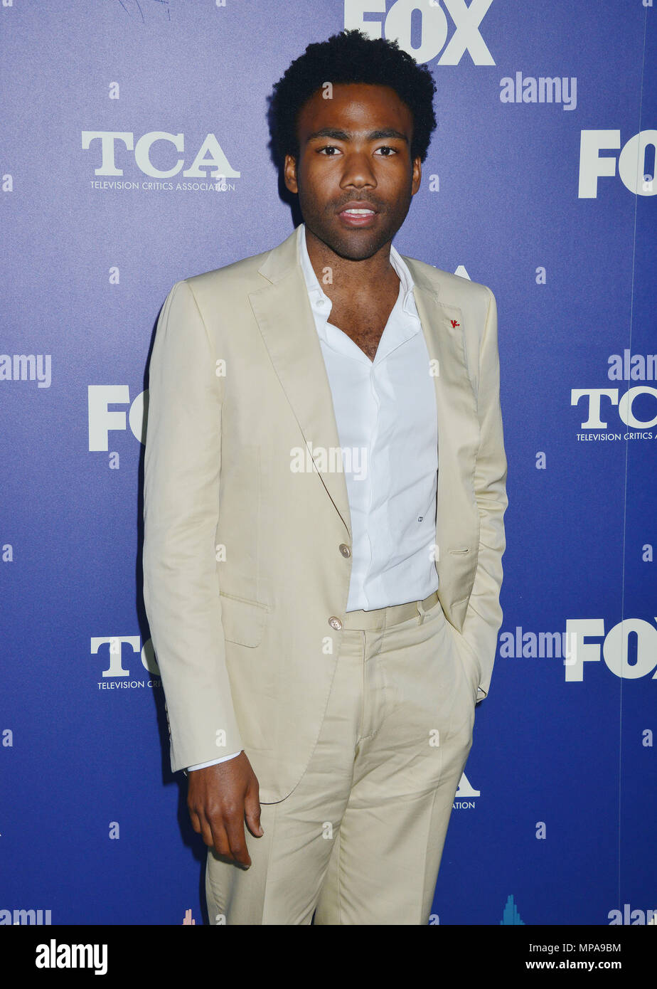 Donald Glover at the FOX Summer TCA Press Tour on August 8, 2016 at the Soho Club  in Los Angeles,Donald Glover ------------- Red Carpet Event, Vertical, USA, Film Industry, Celebrities,  Photography, Bestof, Arts Culture and Entertainment, Topix Celebrities fashion /  Vertical, Best of, Event in Hollywood Life - California,  Red Carpet and backstage, USA, Film Industry, Celebrities,  movie celebrities, TV celebrities, Music celebrities, Photography, Bestof, Arts Culture and Entertainment,  Topix, Three Quarters, vertical, one person,, from the year , 2016, inquiry tsuni@Gamma-USA.com - Stock Image
