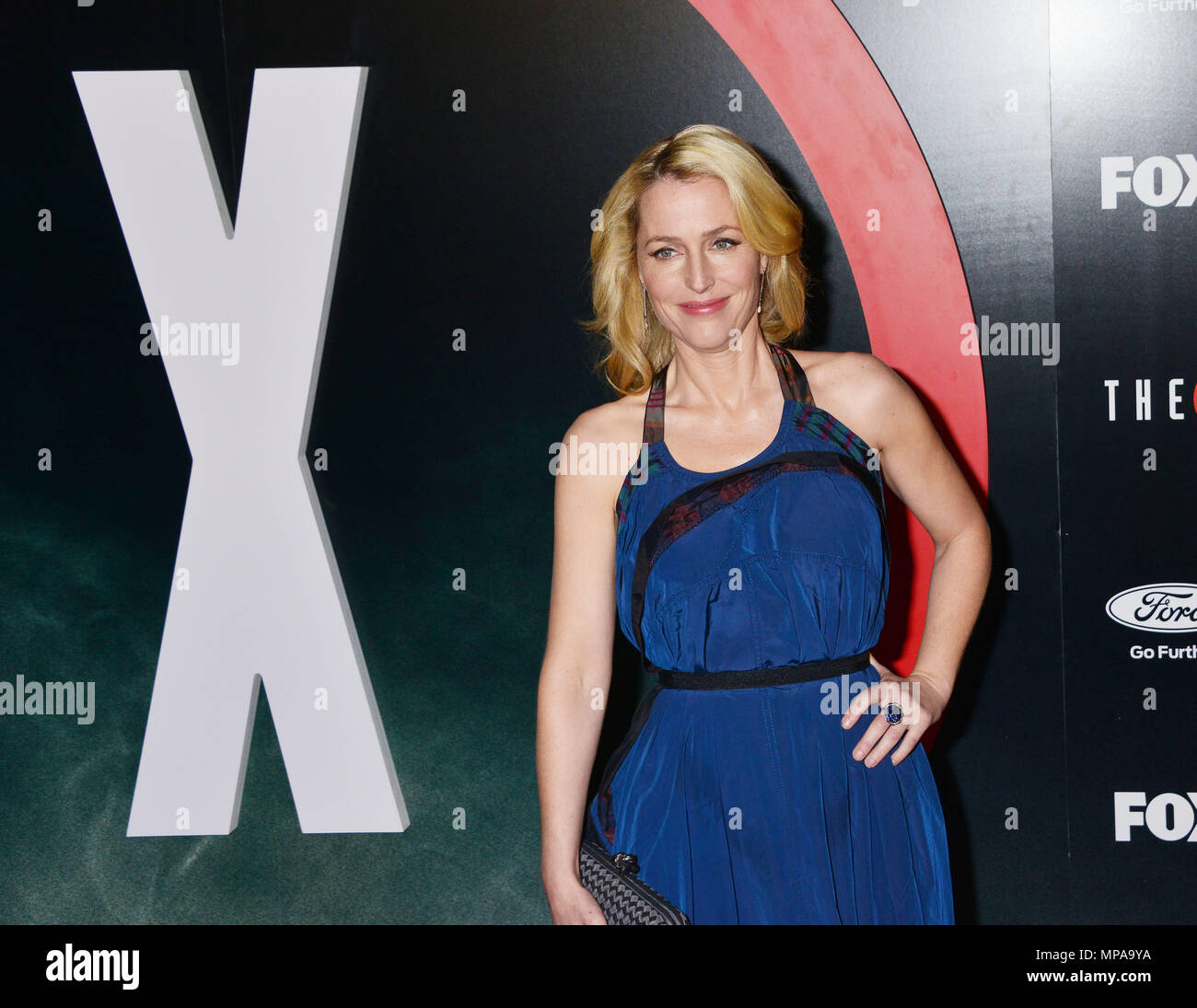 Gillian Anderson 031  at The X-Files Premiere at California Science Center in Los Angeles, CA  January 12, 2016.Gillian Anderson 031 ------------- Red Carpet Event, Vertical, USA, Film Industry, Celebrities,  Photography, Bestof, Arts Culture and Entertainment, Topix Celebrities fashion /  Vertical, Best of, Event in Hollywood Life - California,  Red Carpet and backstage, USA, Film Industry, Celebrities,  movie celebrities, TV celebrities, Music celebrities, Photography, Bestof, Arts Culture and Entertainment,  Topix, Three Quarters, vertical, one person,, from the year , 2016, inquiry tsuni@G - Stock Image