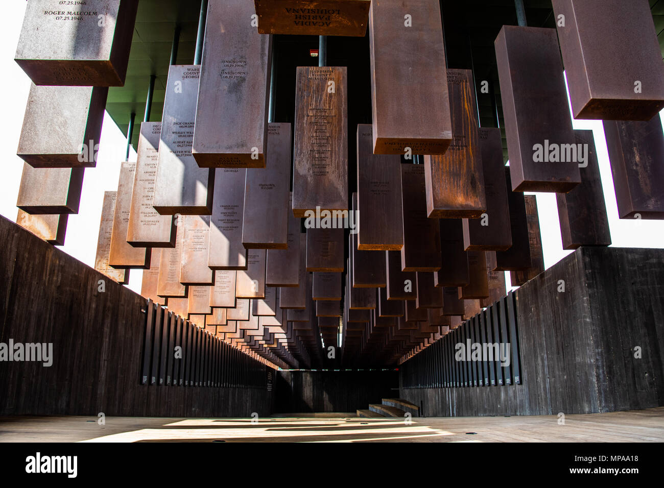 The National Memorial for Peace and Justice or National Lynching Memorial, Montgomery, Alabama, USA - Stock Image