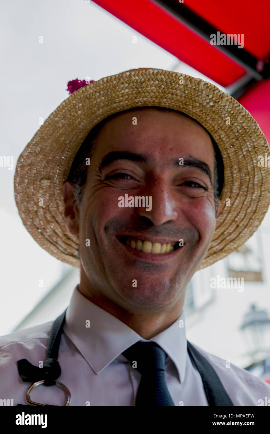 French waiter portrait -  La Boheme bistro In Montmartre - Stock Image