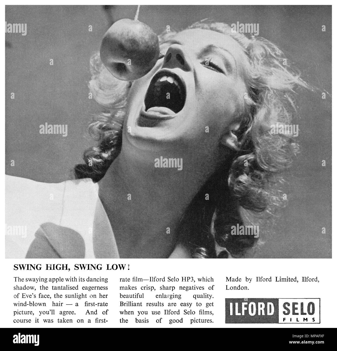 1946 British advertisement for Ilford Selo films. - Stock Image