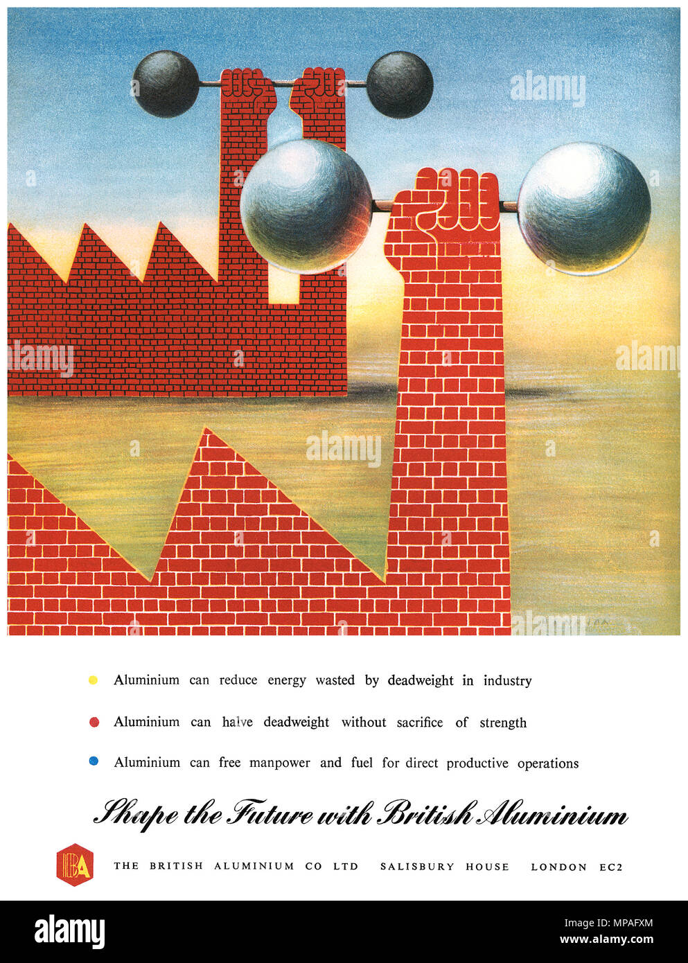 1948 British advertisement for The British Aluminium Co Ltd, designed by F.H.K. Henrion. - Stock Image